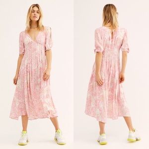 NWT FREE PEOPLE Forever Always Floral Midi Dress 0
